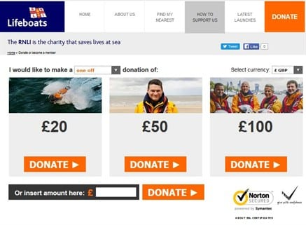 RNLI Website Donations Page